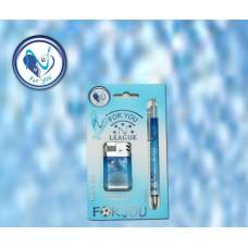 Accendino+penna cuore Azzurro